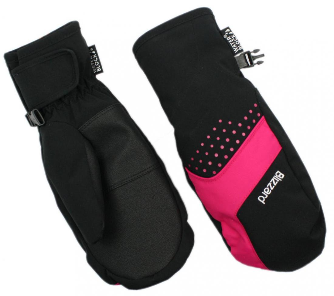 Mitten junior ski gloves, black/pink